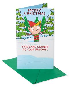 Funny Present Money and Gift Card Holder Christmas Card