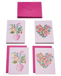 Heart and Floral Boque Boxed Cards and Envelopes, 20-Count