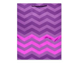 Medium Gift Bag, Purple Chevron
