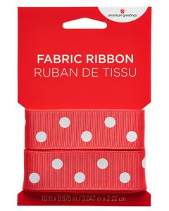 Red and White Polka Dot Fabric Ribbon, 10 Ft.