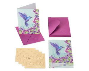 Purple Hummingbird Boxed Cards and Envelopes, 14-Count