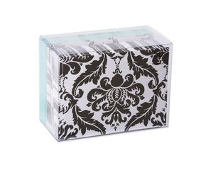 Black and White Damask Blank Note Cards and Envelopes, 50-Count