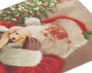 Santa Cuddling Puppy Christmas Boxed Cards, 14 Count