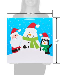 Santa and Winter Friends Jumbo Square Christmas Gift Bag
