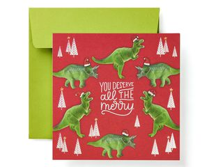 Dinosaur Money and Gift Card Holder Greeting Card - Christmas, Happy Holidays