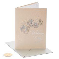 Floral Applique Wedding Greeting Card