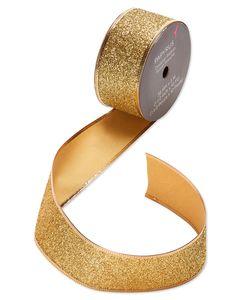 Gold Glitter Holiday Ribbon