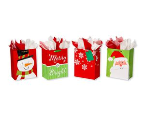 Christmas Large Gift Bag and Tissue Bundle, 4 Bags; 20 Sheets of Tissue