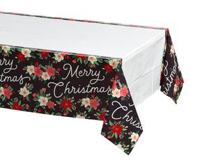 Winter Floral Plastic Table Cover, 54