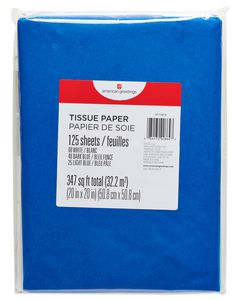 Light Blue, Navy Blue and White Tissue Paper, 125-Sheets