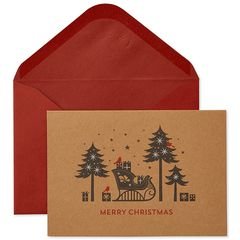 Sleigh Silhouette Holiday Boxed Cards, 16-Count