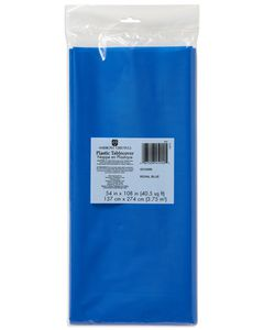 royal blue plastic table cover 54 in. x 108 in.