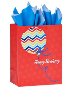 medium happy birthday balloon gift bag with tissue