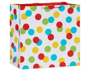 jumbo square multi-dots gift bag