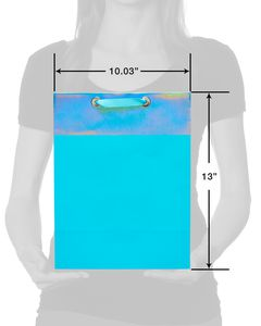 medium aqua metallic gift bag