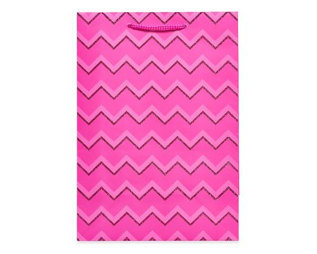 small pink glitter chevron gift bag