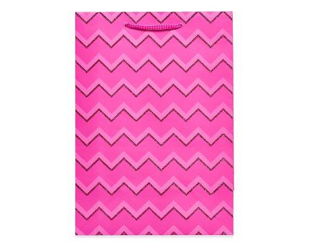 small pink glitter chevron gift bag