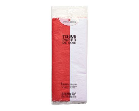 red and white tissue paper 8 sheets