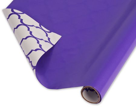 Reversible Wrapping Paper, Purple and Trellis