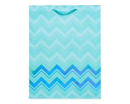 medium aqua chevron gift bag