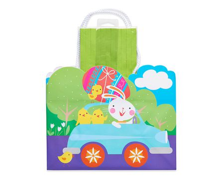 medium easter bunny car gift bag with tissue shred