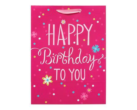 large pink happy birthday gift bag