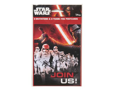 star wars: the force awakens invite and thank you combo pack 8 ct