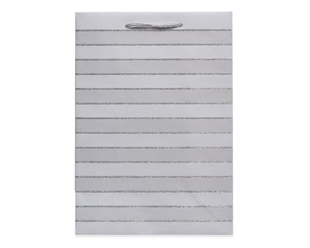 small silver glitter stripes gift bag