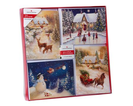 Winter Scenery Assorted Christmas Boxed Cards with White Envelopes, 20-Count