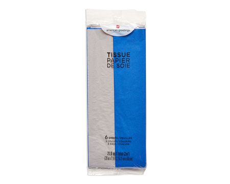 blue and silver tissue paper 6 sheets