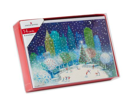 Ice Skating Rink in the City Christmas Boxed Cards, 14 Count