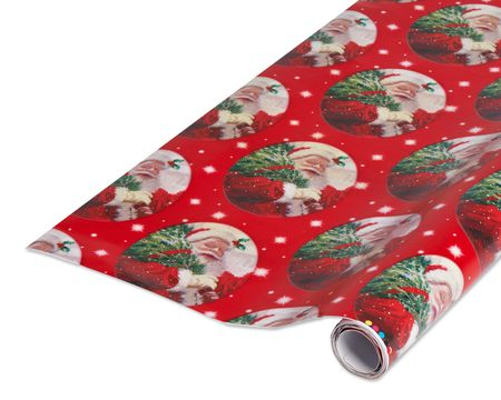 christmas santa with tree wrapping paper 1 roll