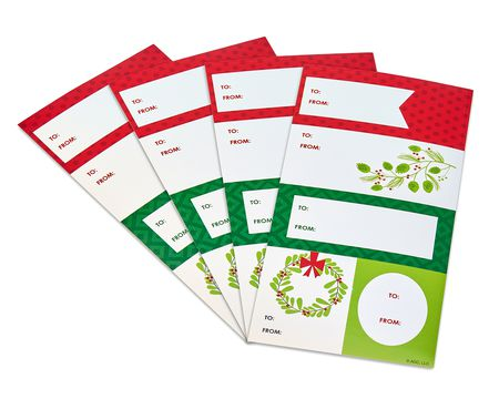red and green christmas gift tags stickers