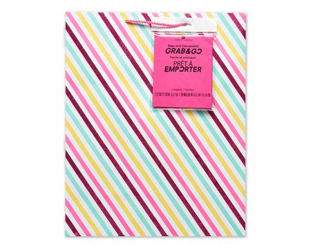 large pink stripes grab-&-go gift bag