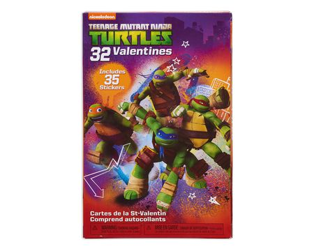 teenage mutant ninja turtle school valentine's day cards, 32 ct with stickers