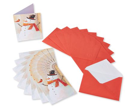 Snowman and Bird Christmas Blank Note Cards, 10 Count