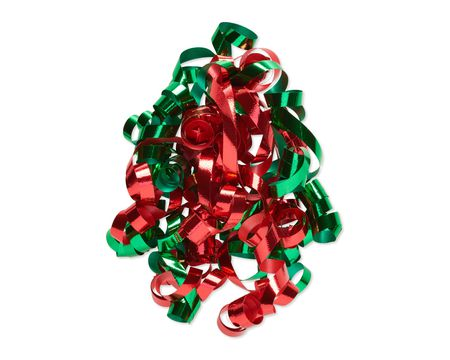 Red and Green Curly Bow