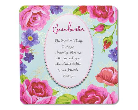 beauty blooms mother's day card for grandmother with foil