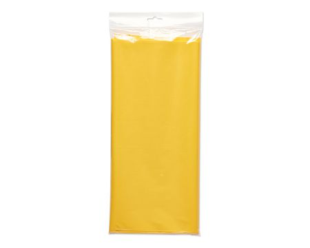 yellow plastic table cover 54 in. x 108 in.