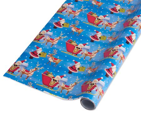 santa and reindeer christmas wrapping paper