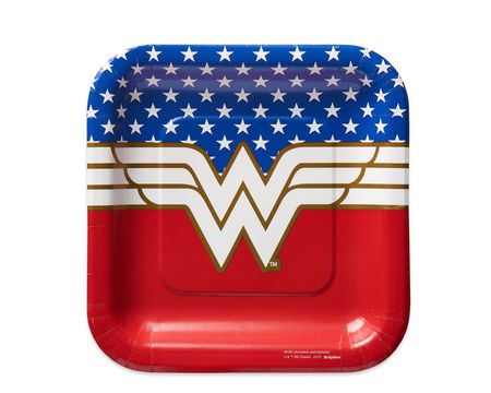 Wonder Woman 8-Count Dessert Square Plates