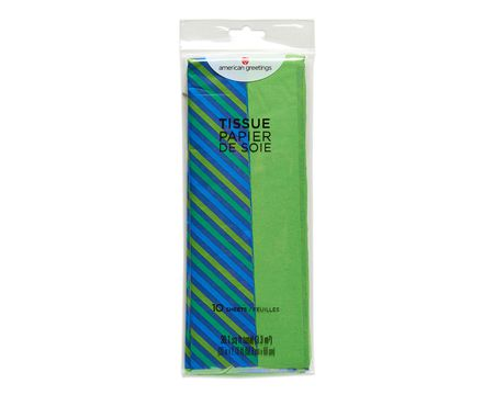 green and striped tissue paper 10 ct