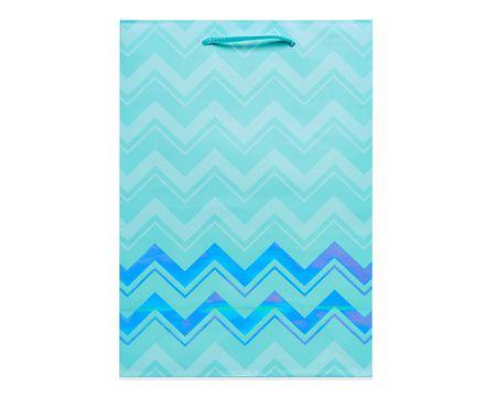 small aqua chevron gift bag