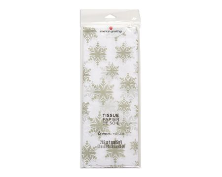 silver snowflakes winter tissue paper 6 sheets