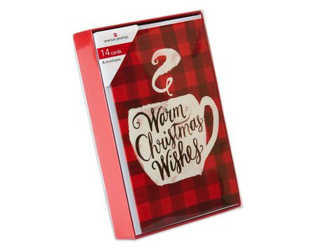 Warm Mug and Flannel Christmas Boxed Cards, 14 Count