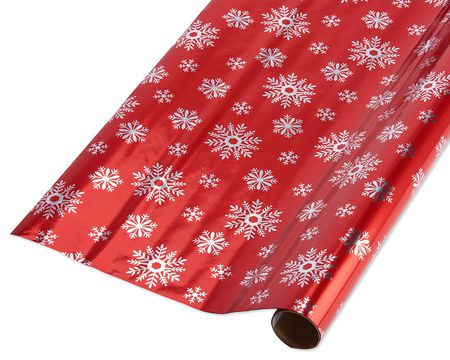 red snowflakes christmas wrapping paper