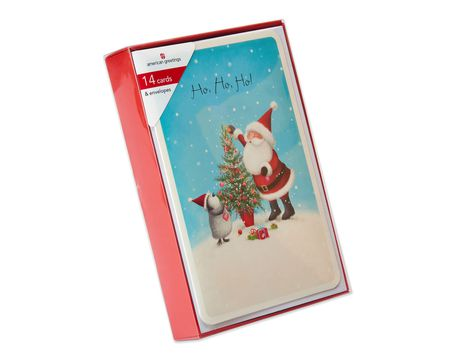 Santa and Penguin with Tree Christmas Boxed Cards, 14 Count