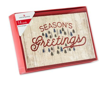Season's Greetings with Forest of Trees Boxed Cards, 14 Count