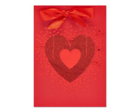 Small Red Glitter Heart Gift Bag