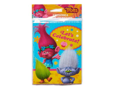 trolls invite and thank you combo pack, 8 ct.
